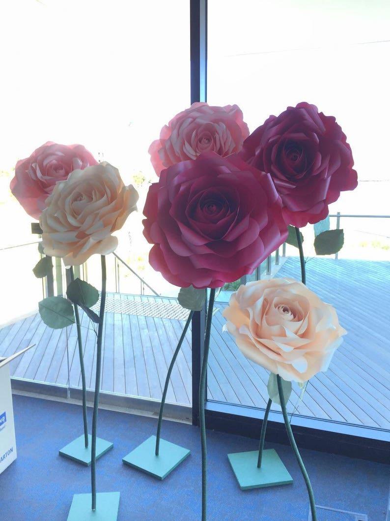 ROSE paper flower freestanding giant/paper flower wall/Wedding image 0