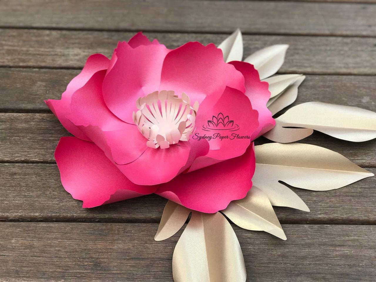 Small Peony Paper Flower Video Tutorial And Centre Etsy