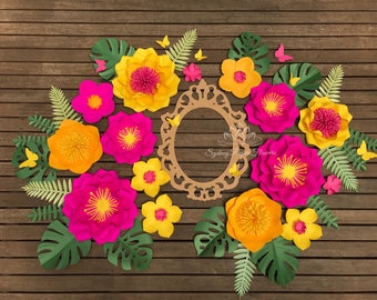Paper flower TROPICAL MOANA backdrop/Paper flower wall/Wedding Backdrop/Baby shower/Tropical wedding party/Sweet table/Cake smash/Dessert ta
