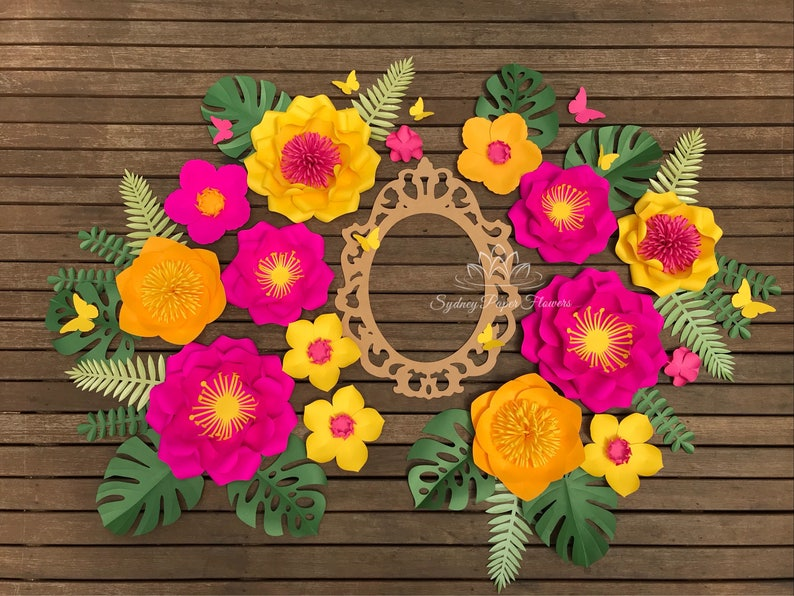 Paper flower TROPICAL MOANA backdrop/Paper flower wall/Wedding image 0