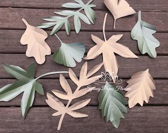 AUTUMN/SPRING leaves templates (set1) video tutorial/svg pdf CriCut Silhouette Cameo download paper flower leaves pattern/paper flower leaf