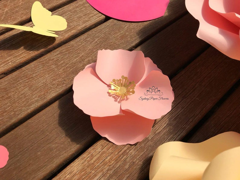 Tiny POPPY Paper Flower Template & Tutorial manual/svg pdf image 0