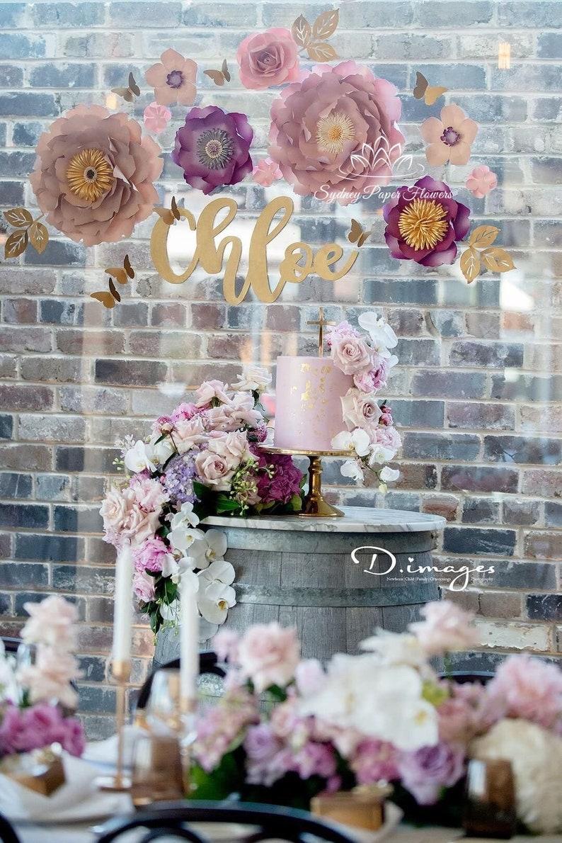 CHLOE purple pink Paper flower backdrop/Paper flower image 0