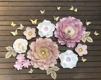 CHLOE dusty pink/nude Paper flower backdrop/Paper flower wall/Wedding Backdrop/Bridal Baby shower/Nursery decor/Christening/Holy communion