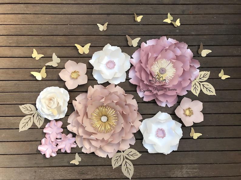 CHLOE dusty pink/nude Paper flower backdrop/Paper flower DPink, nude, white