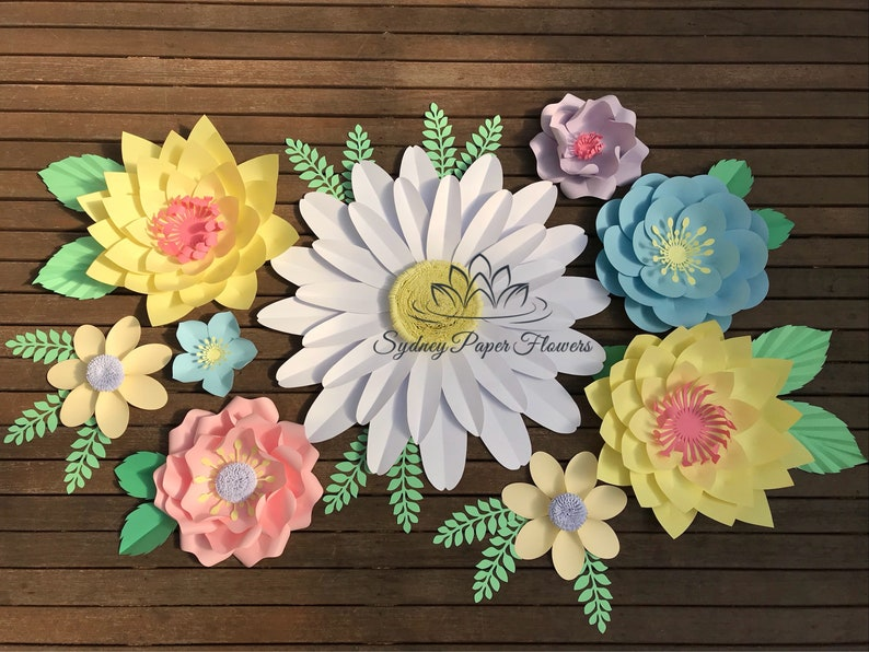 Mini Secret Garden Paper Flowers Backdrop Paper Flower Wall Wedding Backdrop Baby Bridal Shower Sweet Table Christening Dessert Table