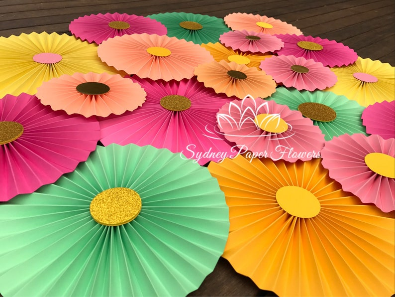 TROPICAL PARTY party backdrop/Paper fans/Birthday party/Sweet image 0
