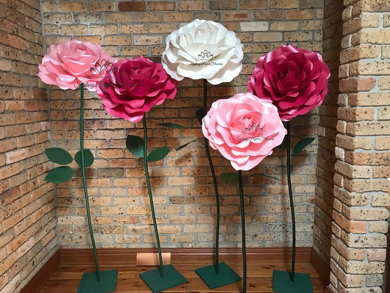 freestanding ROSE paper flower VIDEO tutorial and templates image 0