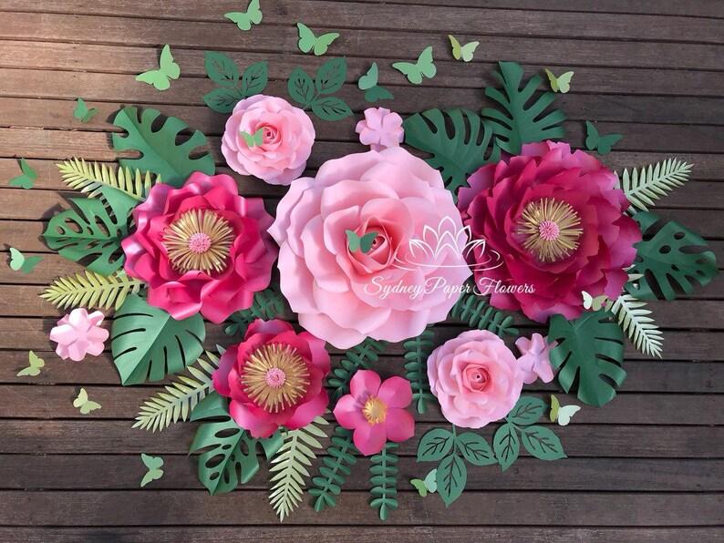 Pink Flamingo Paper Flower Backdrop Paper Flower Wall Wedding Backdrop Bridal Baby Shower Nursery Decor Christening Sweet16 Holy Communion