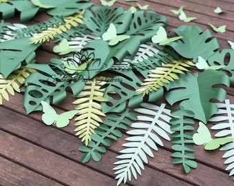 TROPICAL paper leaves ADD ON/Jungle party backdrop/tropical wedding/Kids party/Dessert table/Cake smash/window display/Visual merchandising