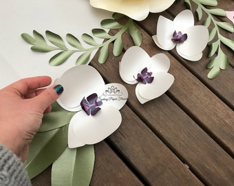 6 ORCHID paper flowers as ADD ON only when you buy a set of flowers / we will not ship this item / postage is not included!!!