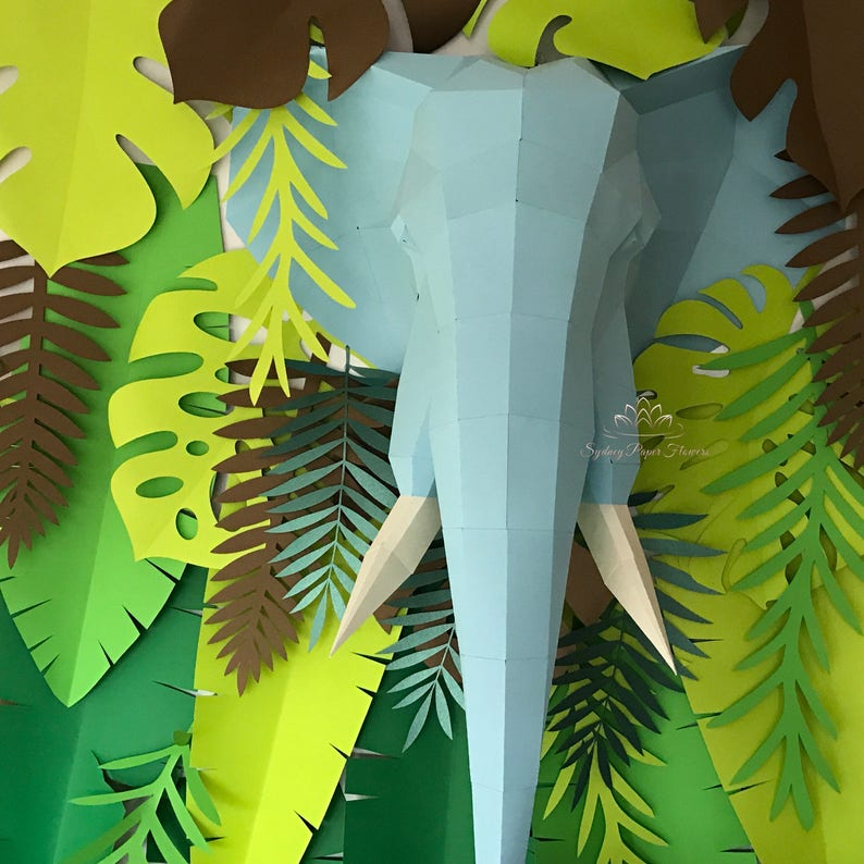 Paper sculpture ELEPHANT/Nursery styling/Baby shower image 0