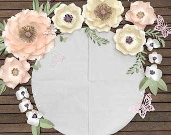 LISA paper flowers backdrop/Paper flower wall/Wedding Backdrop/Backdrop /Baby shower/Baby shower/Sweet table/Christening /Dessert table