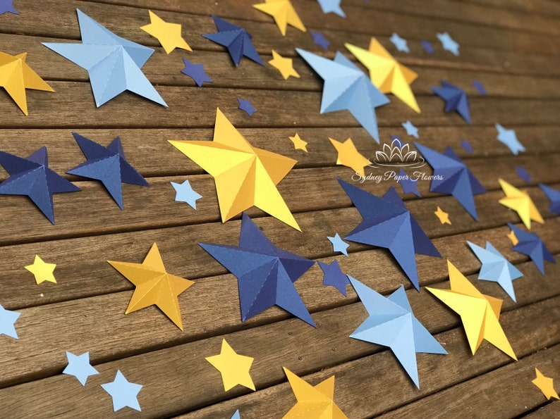 60 Paper STARS DIY 3D flat pack /Nursery styling/Its a image 0