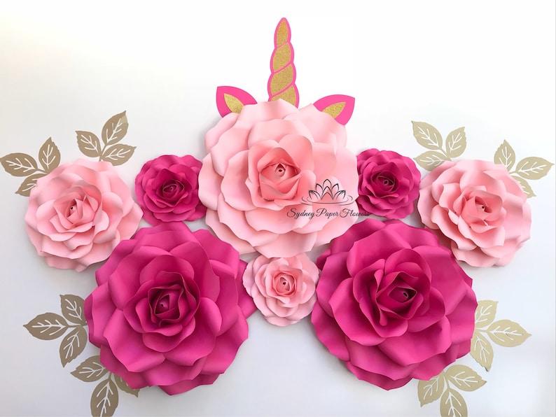 Rose Unicorn 3 Paper Flower Backdrop Paper Flower Wall Wedding Backdrop Bridal Baby Shower Nursery Decor Christening Sweet16 Holy Communion
