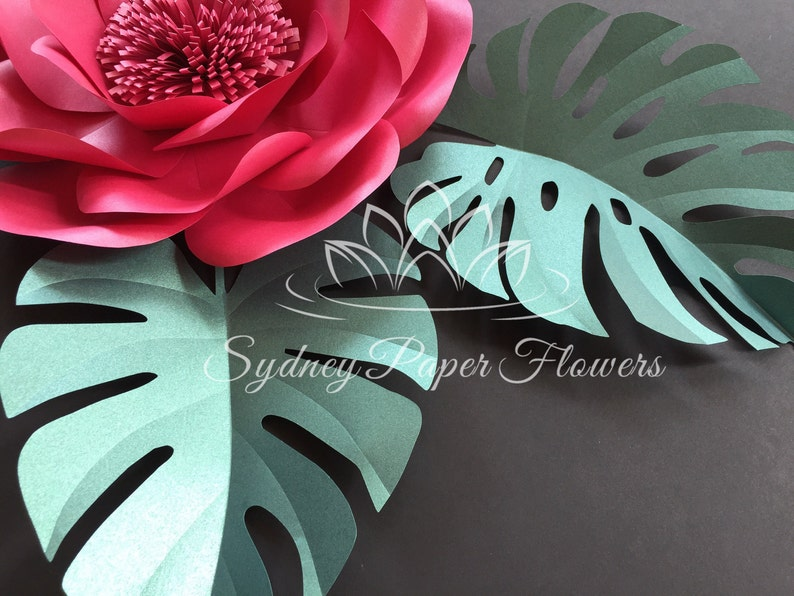 Monstera Leaf Template For Paper Flowers And Video Tutorial Pdf Svg Cricut Silhouette Cameo Paper Leaf Pattern Paper Leaf Template