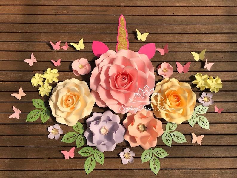 small UNICORN Paper flower backdrop/Paper flower wall/Wedding image 0