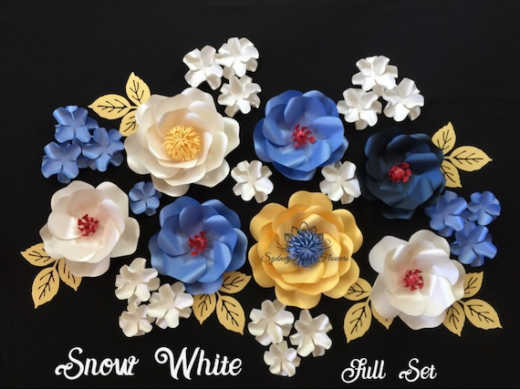 SNOW WHITE Paper flowers set/Disney princess theme party/Paper