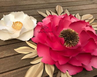 2 PEONY Flowers and leaves Templates & Video Tutorials/Paper flower pattern/pdf svg paper flower/diy paper flower/diy paper flower backdrop