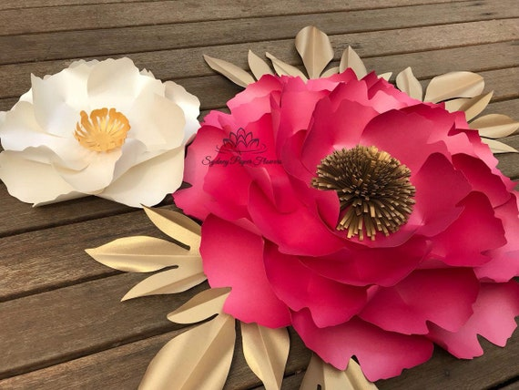 2 Peony Flowers And Leaves Templates Video Tutorials Paper Flower Pattern Pdf Svg Paper Flower Diy Paper Flower Diy Paper Flower Backdrop