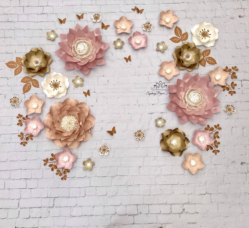 Clare Dusty Pink Nude Paper Flower Backdrop Paper Flower Wall Wedding Backdrop Christening Bridal Baby Shower Sweet Table Dessert Table