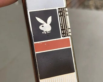 Vintage Playboy Butane Lighter Unique Style Brown White Made In Korea Nice!!