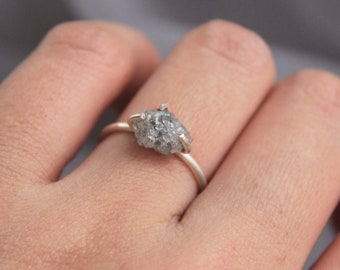 Raw Diamond ring,Silver Rough diamond Ring, 925 Sterling Silver Diamond Ring,