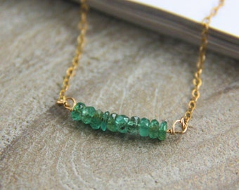 Emerald Necklace, May Birthstone Necklace, Beaded Necklace, Bar Necklace, Bridesmaids Gift, Gemstone Necklace, Emerald Jewelry