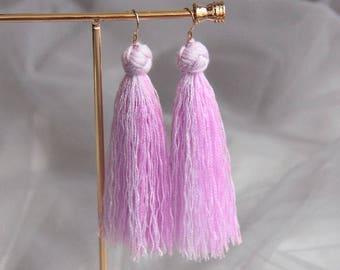 Tassel Earrings, Fringe Earrings, Drop Earrings, Purple Earrings, Lilac Earrings, Dangle Earrings, Modern Earring, Gold Fill Earrings