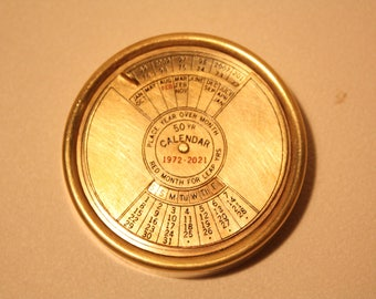 Vintage Brass 50 Year Calendar 1972 To 2021 (Paperweight)