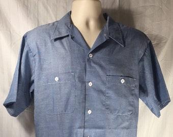 09e153b8e Vintage 80s BIG MAC Short Sleeve Chambray Shirt    65 35 Poly Cotton     Large 16 16.5    Made in USA