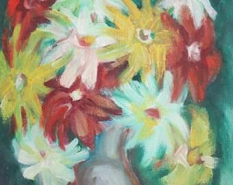 Vintage still life oil impressionist painting