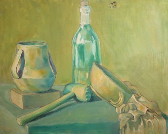 Vintage Gouache Painting Still Life with Bottle, Bowl, Jug and steak hammer