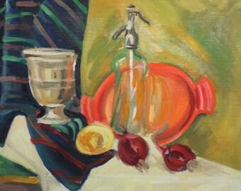 Vintage fruits still life oil painting
