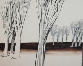 Futurist surreal ink ecologic propaganda forest poster