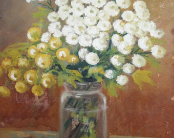 Impressionist autumn flowers oil still life painting
