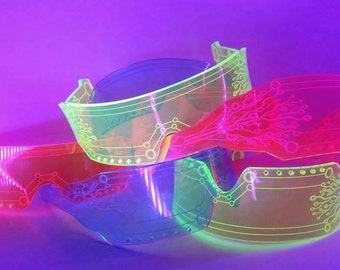 Space Shades ~UV Reactive Cyber Punk Rave Costume  Goggles. Party, Burning Man, Back to school, Gift, Fashion, Halloween, Psy, EDM, Festival