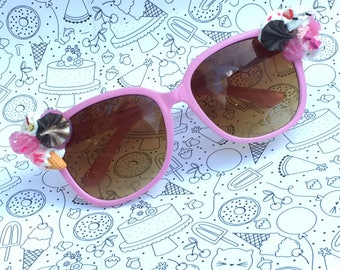 2748795edd9 FREE SHIPPING    Soft Pink Kawaii Deco Sunglasses    Whipped Frosting  Icecream Custom Glasses
