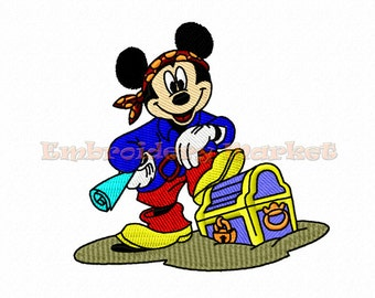 pirate mickey mouse embroidery design 3 sizes Instant Download