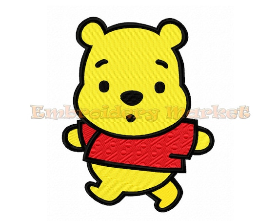 fb22fce854df baby pooh bear fill stitch embroidery design 5 sizes Instant Download