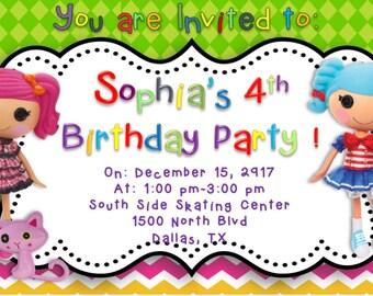 Lalaloopsy inspired Birthday Party Invitation-Editable