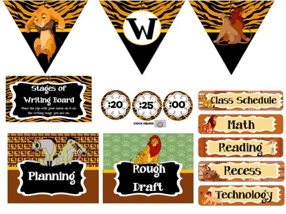 Lion King Classroom Decorations Set Editable