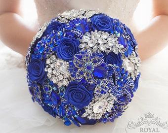 Royal Blue Brooch Bouquet Bridal bouquet Wedding Bouquet Bridesmaids Bouquet Jewelry Bouquet Blue and Silver and Blue Bouquet Custom Bouquet