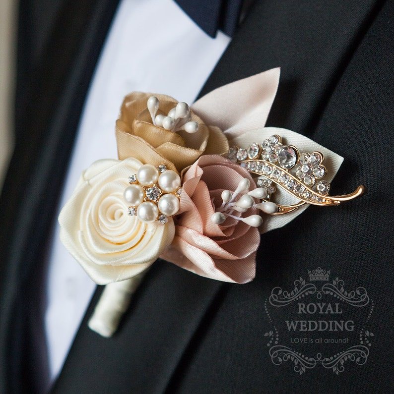 Wedding Boutonniere Grooms Accessories Jewelry Pink Decor image 0