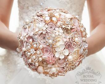 Wedding Fabric Brooch Bouquet Pink Bridal Bouquet Ivory Brides Rose Gold Broach Jewelry Bridesmaids Gift Flower Girl Cascade Brooch Bouquet