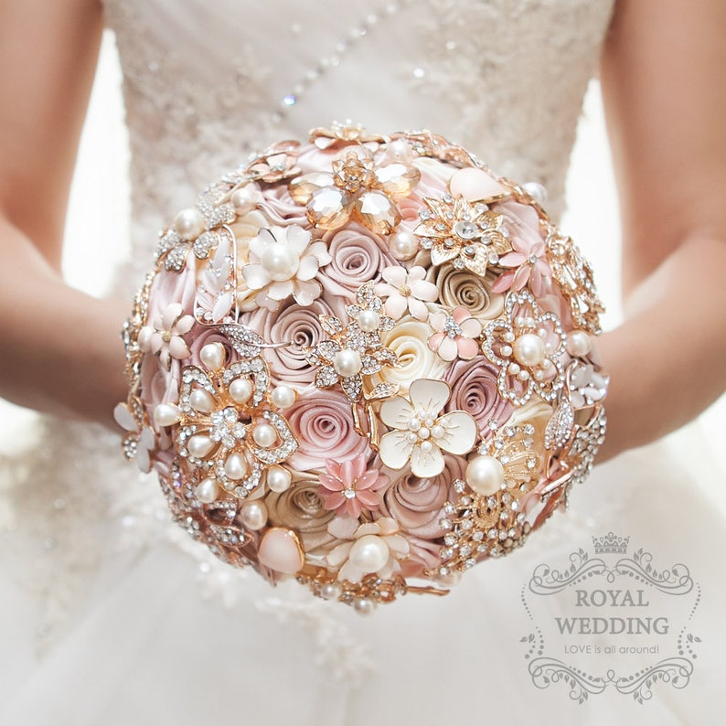 88831db06 Cascade Fabric Brooch Bouquet Pink Ivory Brides Rose Gold image 0 ...