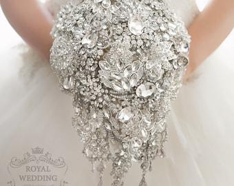Cascade Brooch Wedding Bouquet Crystal Art Deco Jewelry Silver Flower Teardrop Princess Style Rhinestones Bridal Accessories Wedding Bouquet