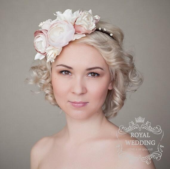 tocado de novia flor corona diadema nupcial boda casco boda | etsy