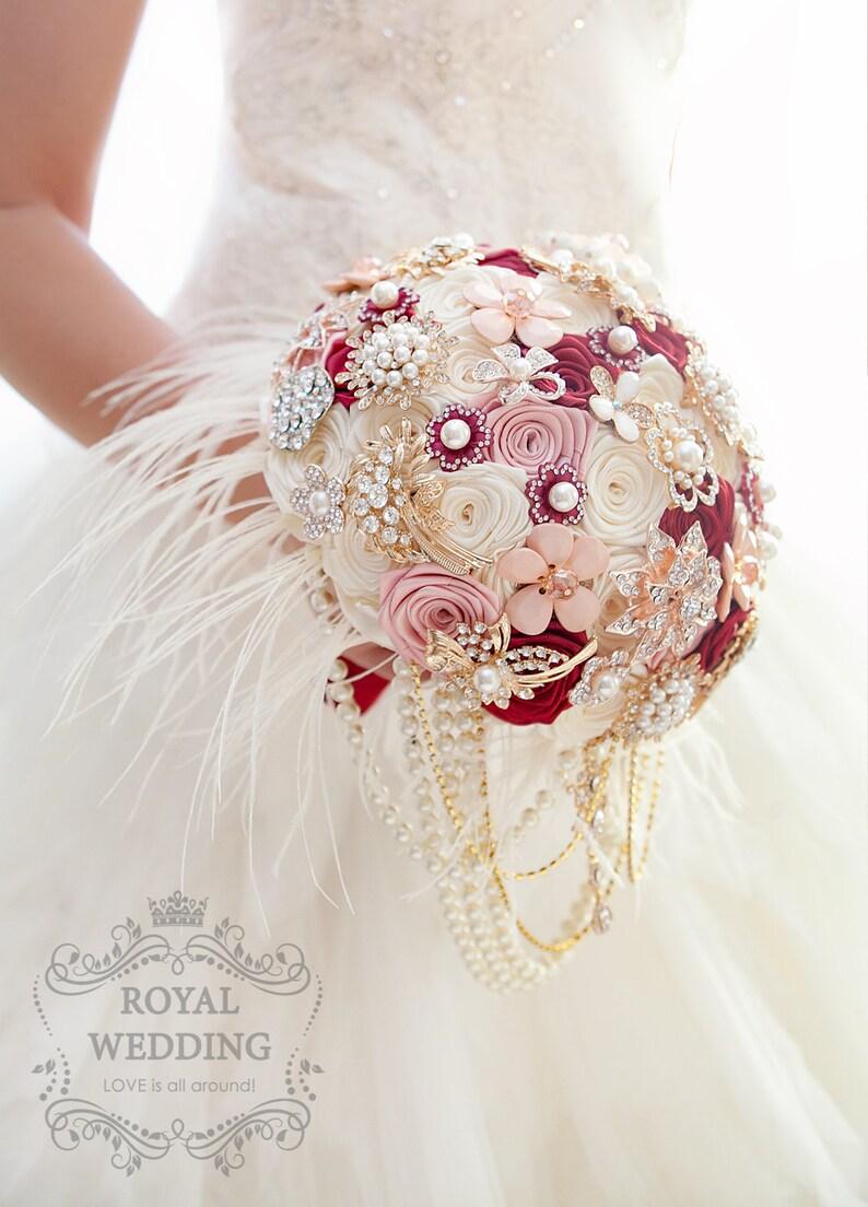 Cascade Feather Wedding Bouquet Red Marsala Bridal Brooch Bouquet Accessories Bridesmaids Brides Keepsake Ivory Blush Pink Wedding Bouquet