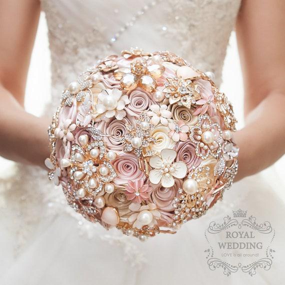 Rose gold wedding bouquet blush pink ivory cream brooch etsy image 0 mightylinksfo